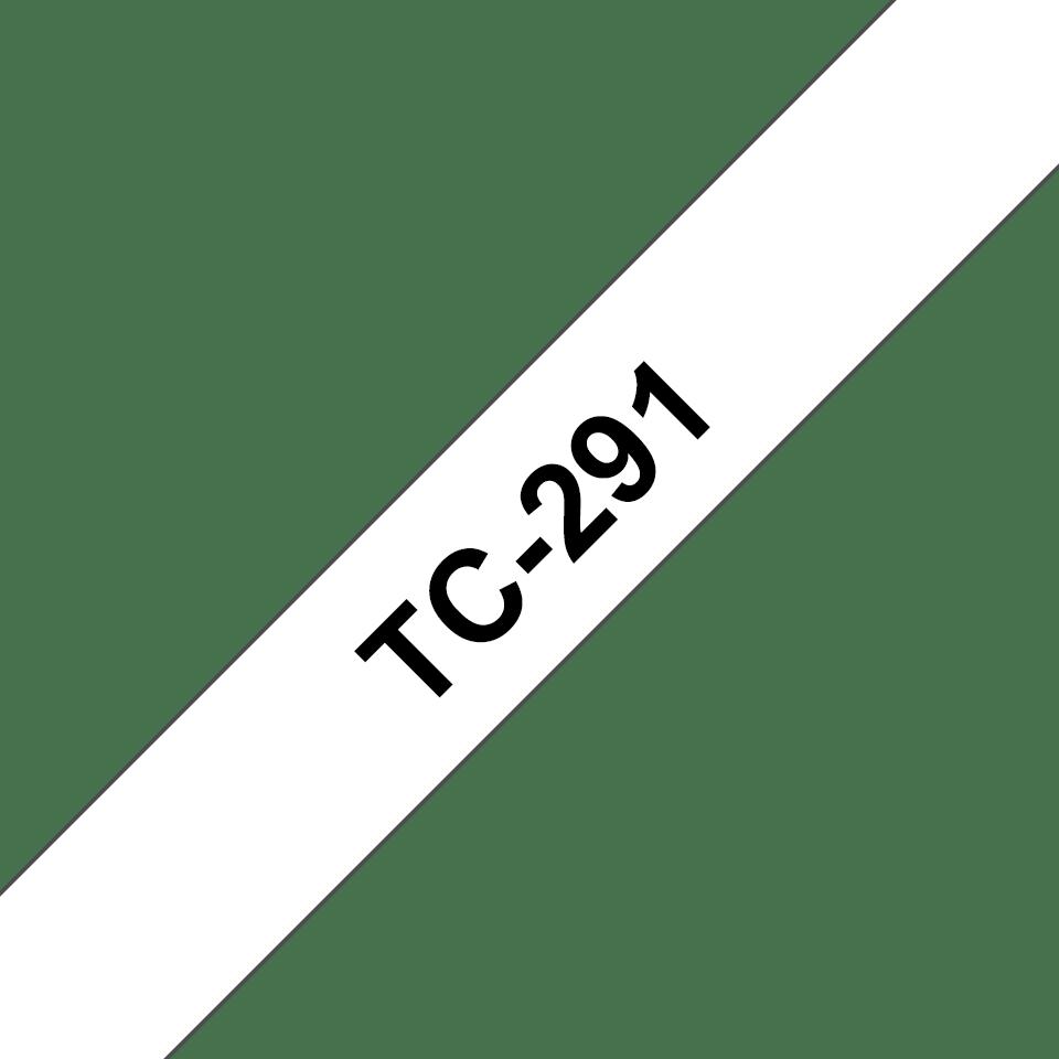Brother original TC291 etikettape – svart på vit, 9 mm