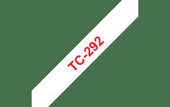 Original Brother TC292 merketape – rød på hvit, 9 mm bred