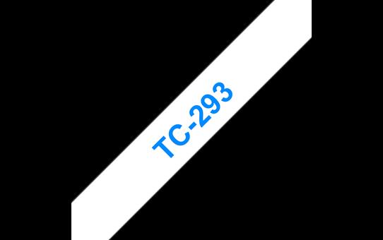 Casetă cu bandă de etichete originală Brother TC293 – albastru pe alb de 9mm lățime