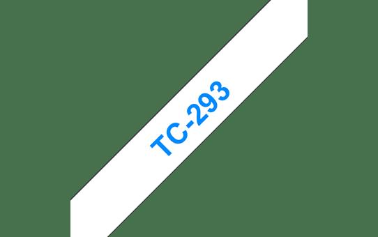 Оригинална касета Brother TC293, син текст на бяла лента, ширина 9mm