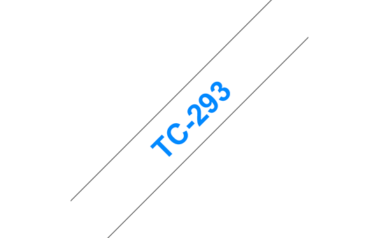 Originální pásková kazeta pro tisk štítků Brother TC293 – modrý tisk na bílém podkladu, šířka 9 mm