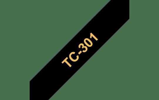 Оригинална касета Brother TC301, златист текст на черна лента, ширина – 12mm
