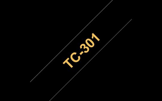 Cassette à ruban pour étiqueteuse TC-301 Brother originale – Doré sur noir, 12mm de large