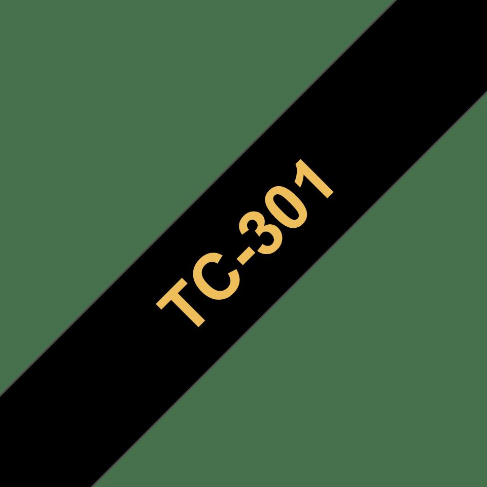 Originální pásková kazeta pro tisk štítků Brother TC301 – zlatý tisk na černém podkladu, šířka 12 mm