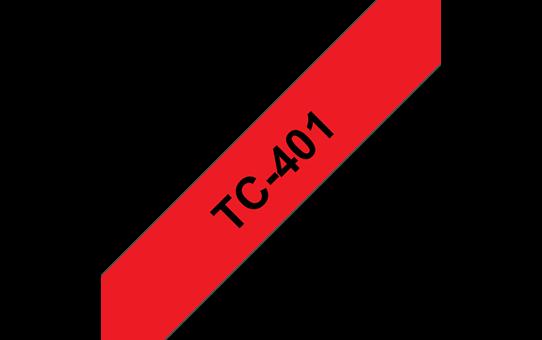 Oryginalna taśma do etykietowania Brother TC-401 – czarny nadruk na czerwonym tle, szerokość 12mm