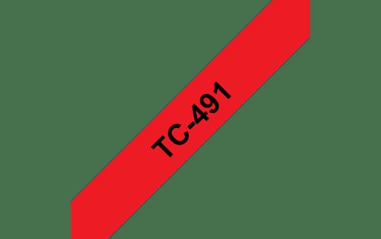 Оригинална касета Brother TC491, черен текст на червена лента, ширина – 9mm