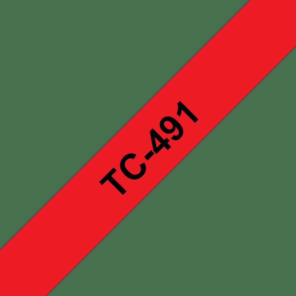 Brother TC-491 Cassetta nastro per etichettatura originale - Nero su rosso
