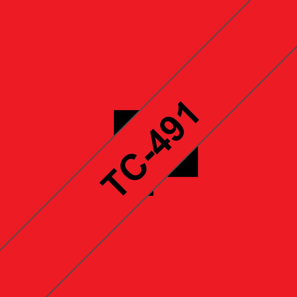 Eredeti Brother TX491 szalagkazetta - piros alapon fekete, 9 mm széles