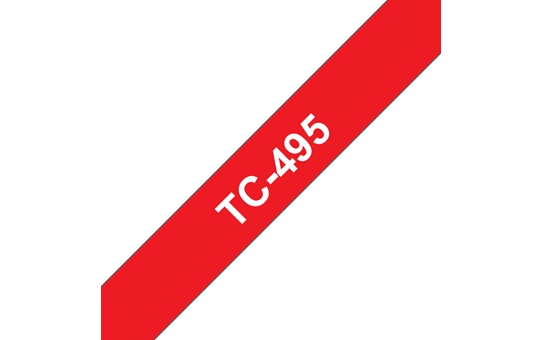 Genuine Brother TC-495 Labelling Tape Cassette – White on Red, 9mm wide