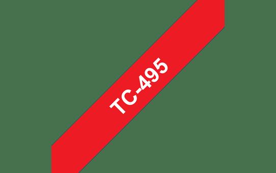 Originele Brother TC-495 label tapecassette – wit op rood, breedte 9 mm