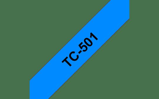 Originele Brother TC-501 label tapecassette – zwart op blauw, breedte 12 mm
