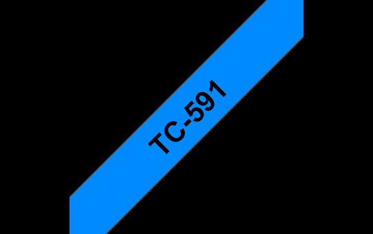 Oryginalna taśma do etykietowania Brother TC-591 – czarny nadruk na niebieskim tle, szerokość 9mm