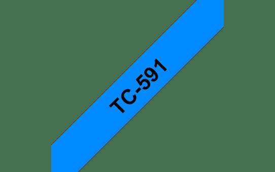 Original Brother TC591 merketape – sort på blå, 9 mm bred