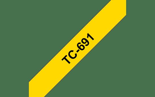 Originální pásková kazeta pro tisk štítků Brother TC691 – černý tisk na žlutém podkladu, šířka 9 mm