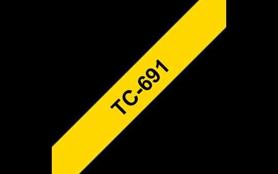 Original TC-691 Schriftbandkassette von Brother – Schwarz auf Gelb, 9mm breit