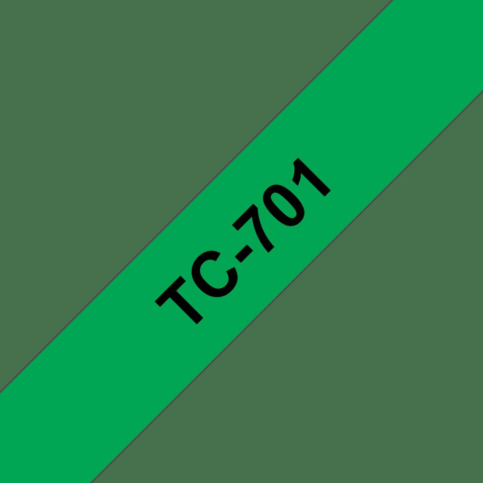 Original Brother TC701 tapekassette – sort på grøn, 12 mm bred