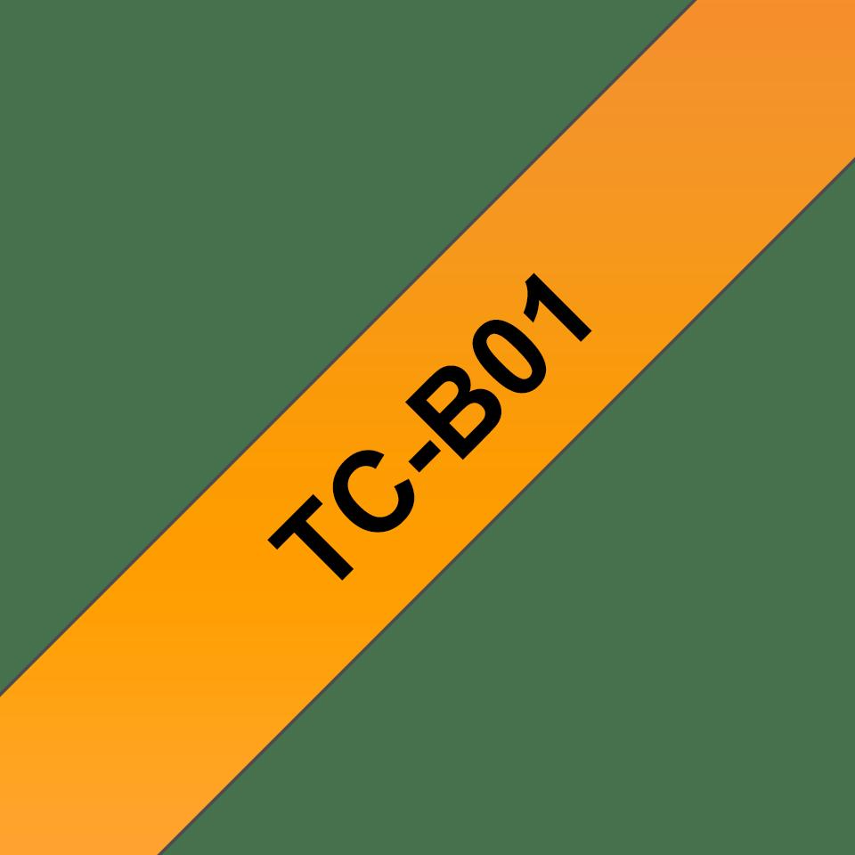 Brother TC-B01 Cassetta nastro fluorescente per etichettatura originale - Nero su arancione