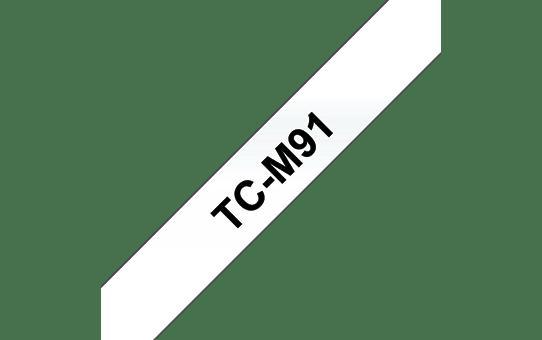 Oryginalna laminowana taśma samoprzylepna TC-M91 firmy Brother. Czarny nadruk na przezroczystym tle – szerokość 9mm
