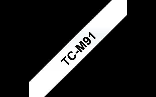 Brother TCM91 original självhäftande laminerad etikettape, svart på genomskinlig – 9 mm
