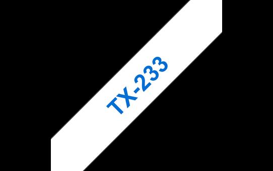 Cassette à ruban pour étiqueteuse TX-233 Brother originale – Bleu sur blanc, 12mm de large