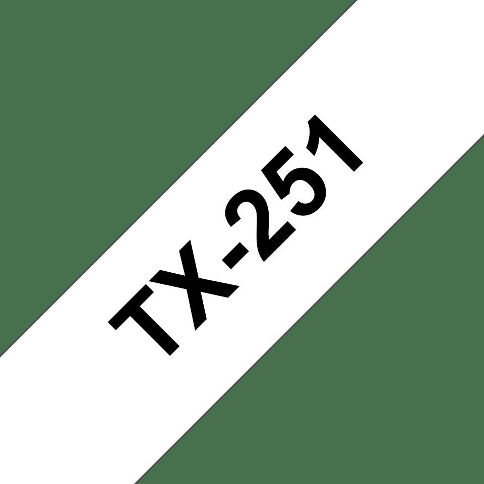 Brother TX-251 tapekassett- svart på vit laminerad tape, 24 mm bred
