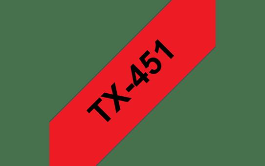 Brother TX451 original etikettape, svart på röd, 24 mm bred