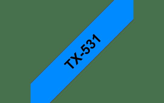 Brother TX-531 Schriftband – schwarz auf blau