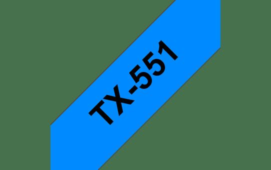 Cassette à ruban pour étiqueteuse TX-551 Brother originale – Noir sur bleu, 24mm de large