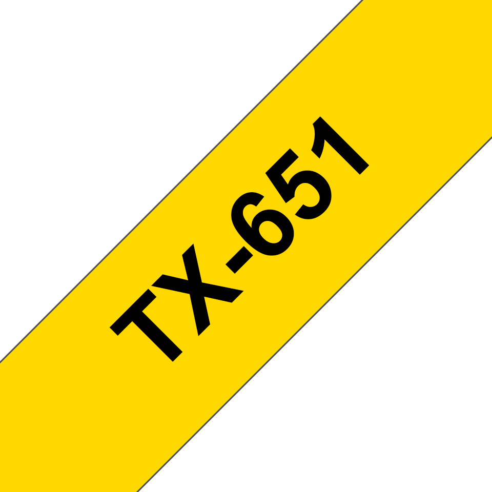 Genuine Brother TX-651 Labelling Tape – Black on Yellow, 24mm wide