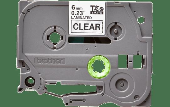 Oriģināla Brother TZe-111 uzlīmju lentes kasete – melnas drukas caurspīdīga, 6mm plata