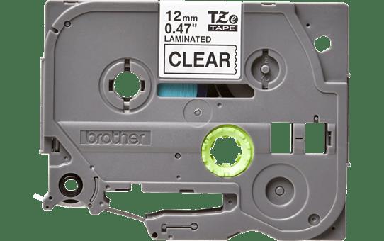 Eredeti Brother TZe-131 laminált szalag – Átlátszó alapon fekete, 12mm széles 2