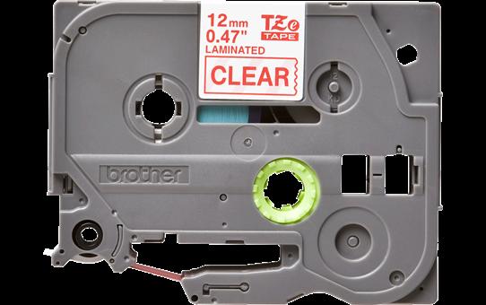 Brother TZe132: оригинальная кассета с лентой для печати наклеек красным на прозрачном фоне, ширина: 12 мм.