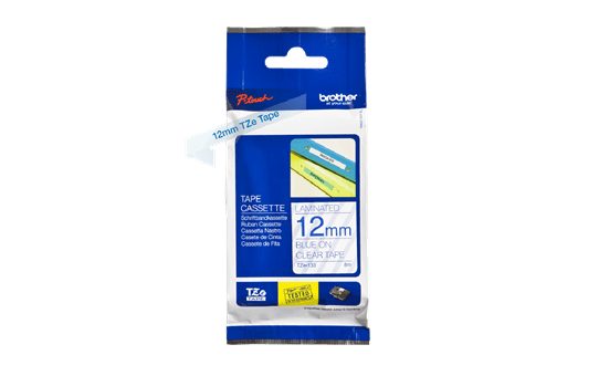 Genuine Brother TZe-133 Labelling Tape Cassette – Blue On Clear, 12mm wide 2