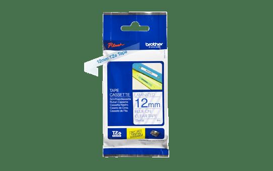 Original Brother TZe133 merketape – blå på klar, 12 mm bred 3
