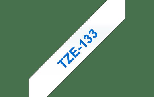 Original Brother TZe133 merketape – blå på klar, 12 mm bred