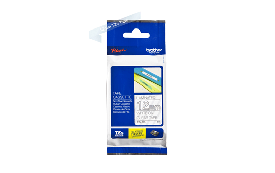Genuine Brother TZe-135 Labelling Tape Cassette – White On Clear, 12mm wide 2