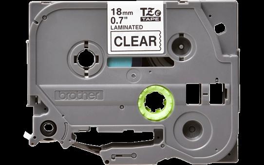 Brother TZe141: оригинальная кассета с лентой для печати наклеек черным на прозрачном фоне, ширина 18 мм.