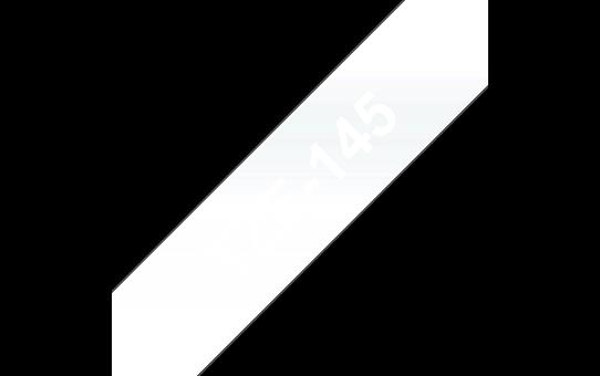 Original Brother TZe145 merketape – hvit på klar, 18 mm bred