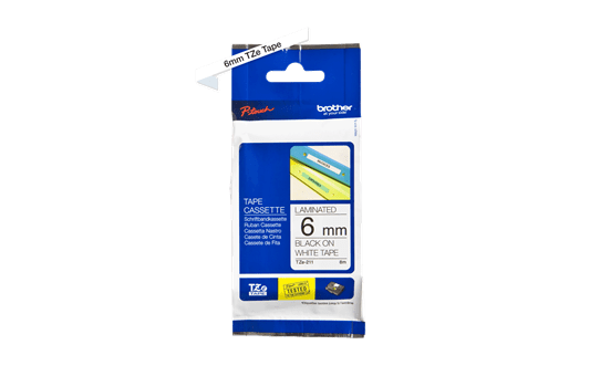 Cassette à ruban pour étiqueteuse TZe-211 Brother originale – Noir sur blanc, 6mm de large 3