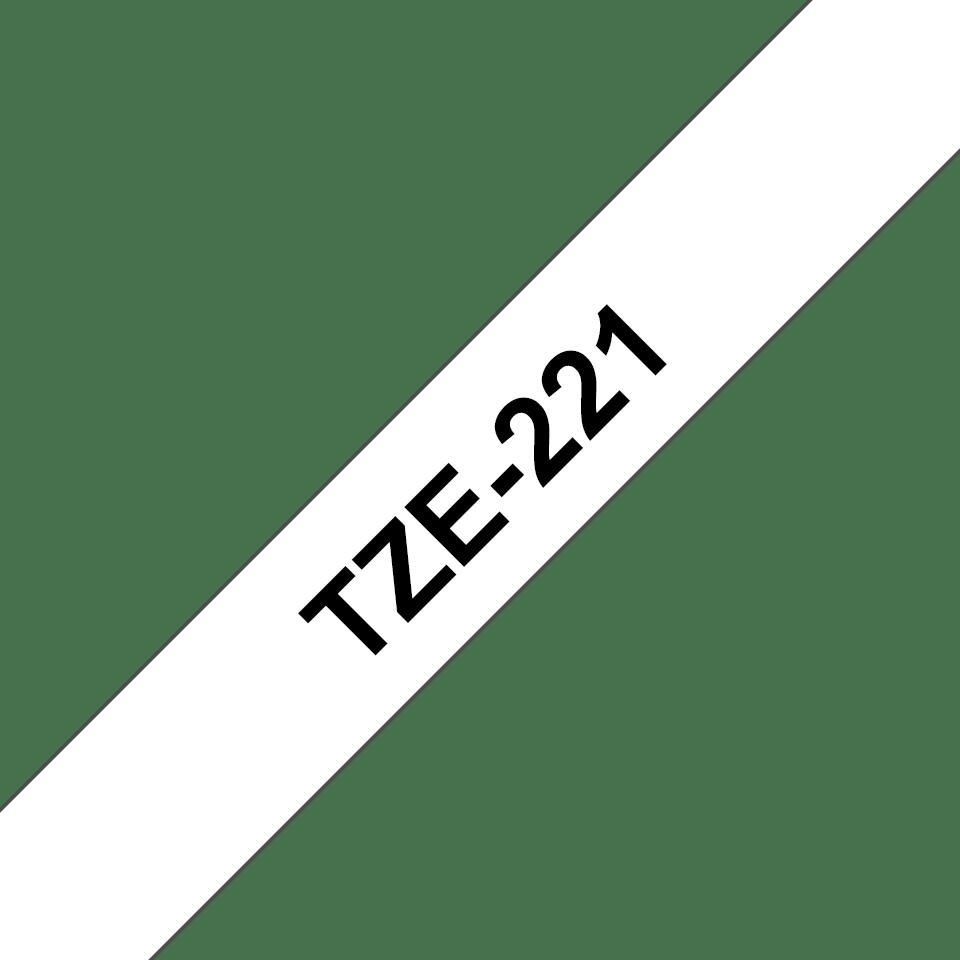 Originální kazeta s páskou Brother TZe-221 - černý tisk na bílé, šířka 9 mm