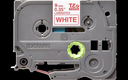 Oriģinālā Brother TZe222 sarkanas drukas balta uzlīmju lentes kasete, 9mm plata