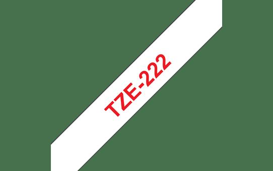 Original Brother TZe222 merketape – rød på hvit, 9 mm bred