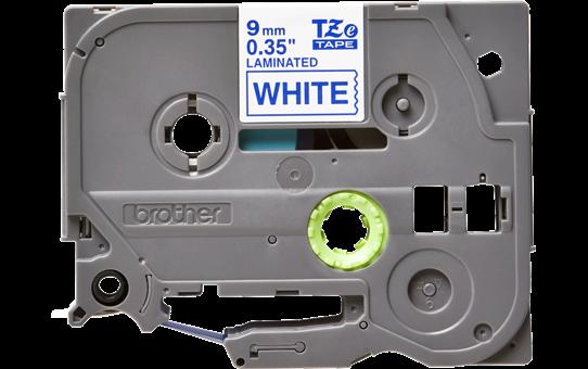 Oriģinālā Brother TZe223 zilas drukas balta uzlīmju lentes kasete, 9mm plata
