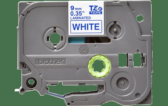 Oryginalna taśma TZe-223 firmy Brother – niebieski nadruk na białym tle, 9mm szerokości 2