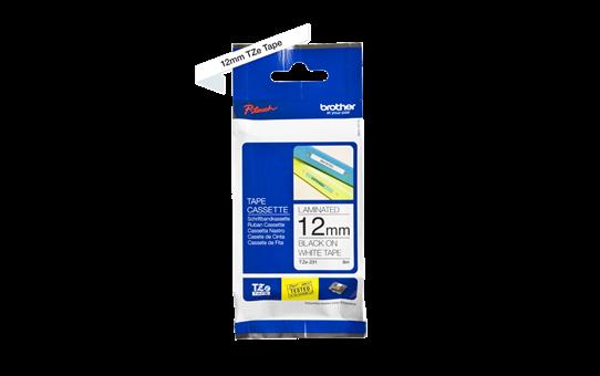 Oriģinālā Brother TZe-231 uzlīmju lentes kasete – melnas drukas, balta, 12mm plata 2