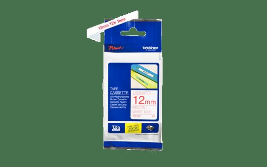 Originální kazeta s páskou Brother TZe-232 - červený tisk na bílé, šířka 12 mm<br> 3