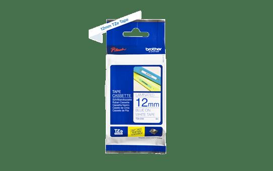 Casetă cu bandă de etichete originală Brother TZe-233 – albastru pe alb, 12mm lățime 3