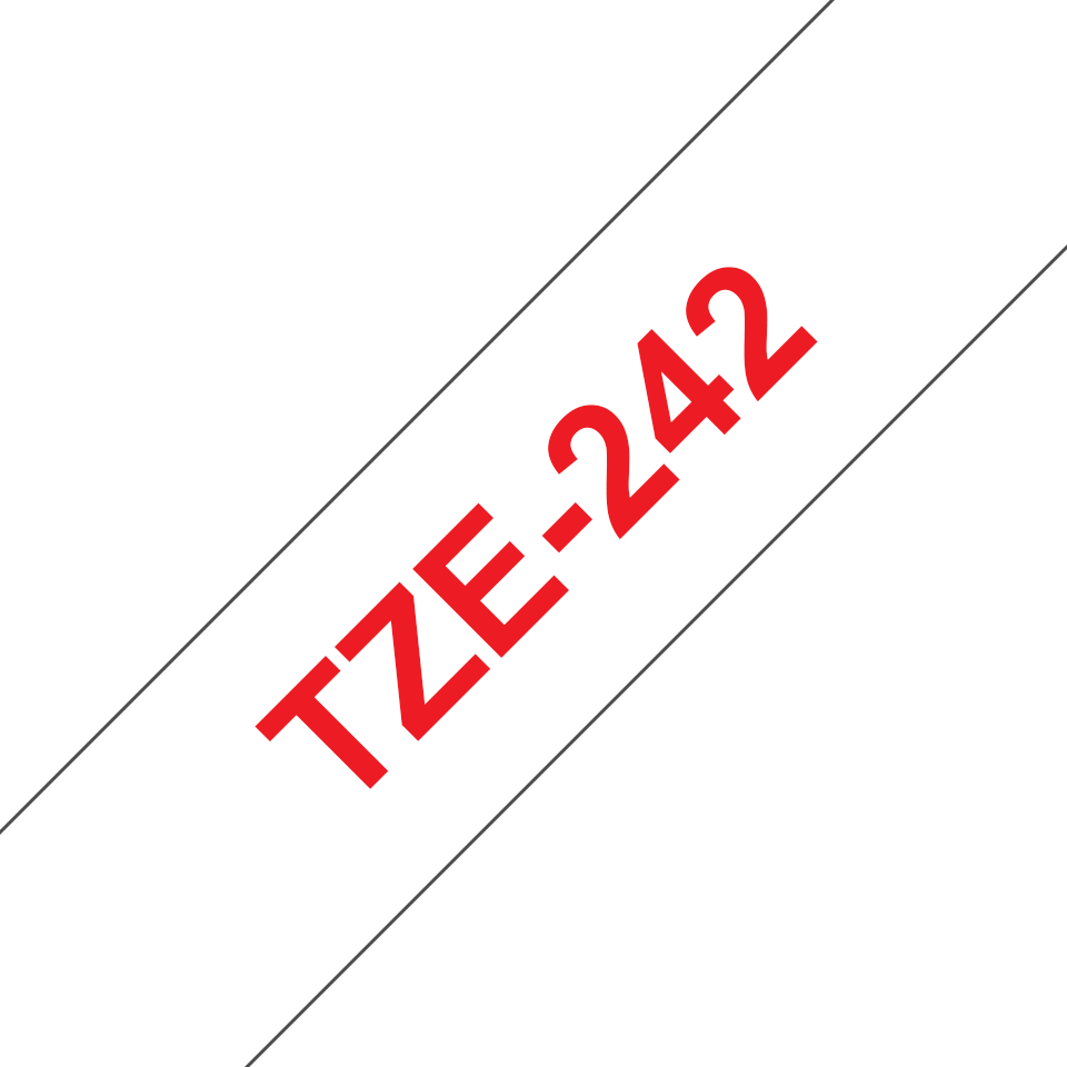 Genuine Brother TZe-242 Labelling Tape Cassette – Red on White, 18mm wide
