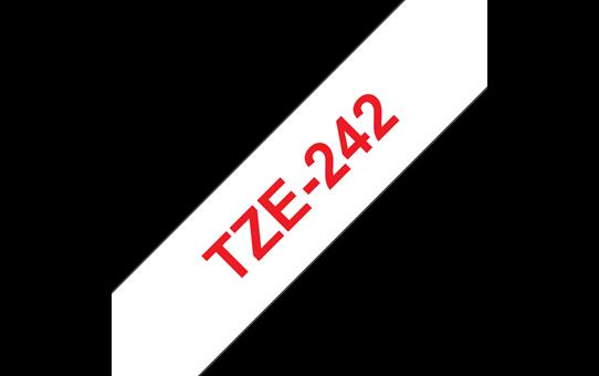 Original Brother TZe242 merketape – rød på hvit, 18 mm bred