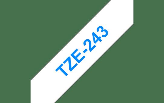 Brother TZe-243 Schriftband – blau auf weiß 2